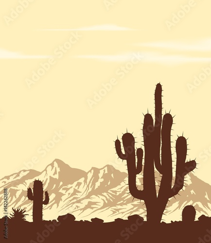 Sunset in lifless stone desert with cactuses. Vector landscape.