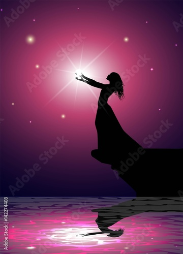 Fototapeta illustrazione fantastica di donna con una luce tra le mani