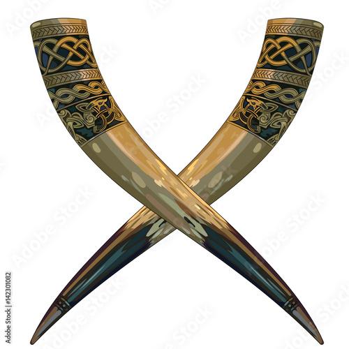 Obraz na płótnie Drinking horn Viking decorated with Scandinavian ornaments