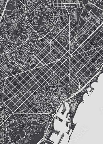 Fotografie, Obraz Barcelona city plan, detailed vector map