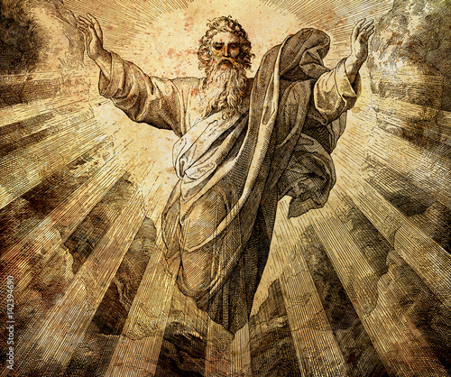 Fotografiet God creator creating the world, graphic collage from engraving of Nazareene School, published in The Holy Bible, St