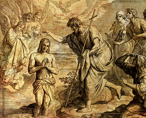 Fotomural Baptism of Jesus Christ by John the Baptist, graphic collage from engraving of Nazareene School, published in The Holy Bible, St