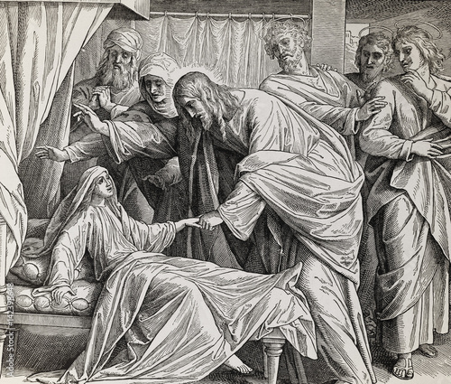 Obraz na plátne Jesus heals Jairus´ daughter, graphic collage from engraving of Nazareene School, published in The Holy Bible, St