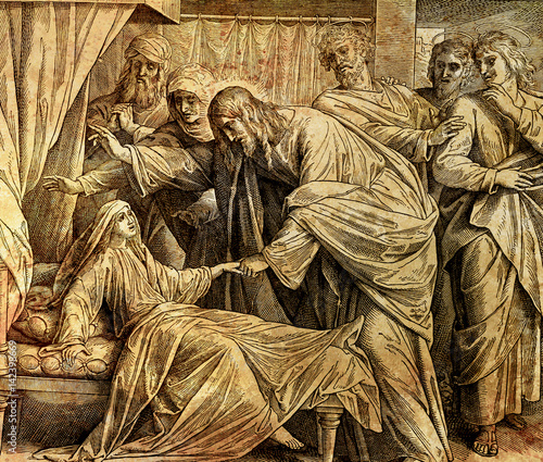 Fotografia, Obraz Jesus heals Jairus´ daughter, graphic collage from engraving of Nazareene School, published in The Holy Bible, St