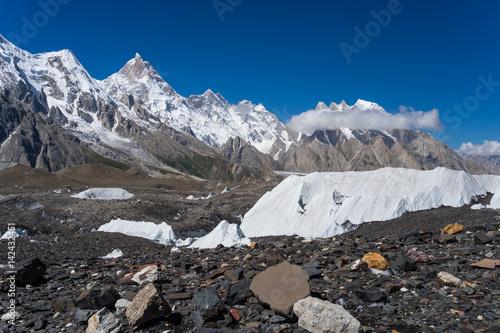 Masherbrum mountain peak behind Baltoro glacier, K2 trek, Pakistan