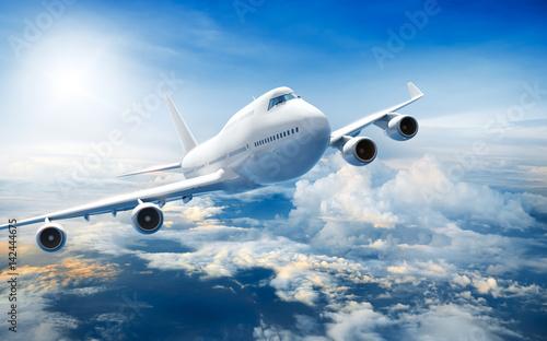 Airplane flying above clouds Fototapeta