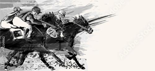 Fotografiet Horse racing over grunge background