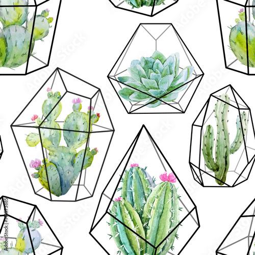 Akwarela wektor wzór kaktusa
