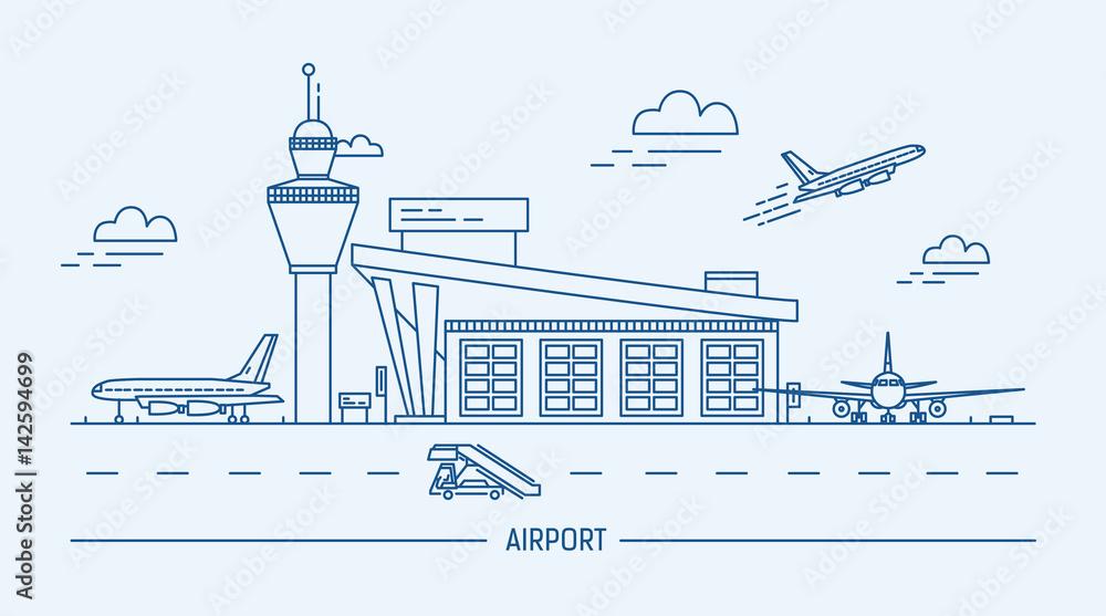 Lotnisko, samolot. Lineart czarno-biały ilustracja wektorowa z terminalu lotniczego i samolotów. <span>plik: #142594699   autor: Good Studio</span>