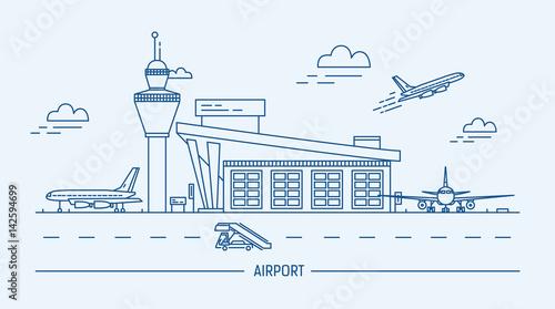 Lotnisko, samolot. Lineart czarno-biały ilustracja wektorowa z terminalu lotniczego i samolotów.