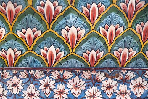 Fototapeta Wall paintings in the Chandra Mahal, Jaipur City Palace in Jaipur, Rajasthan, In