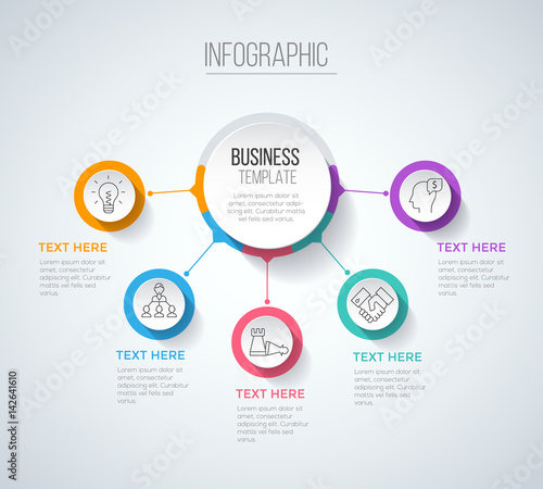 Photo Five steps infographics with main option, business data visualization, process c