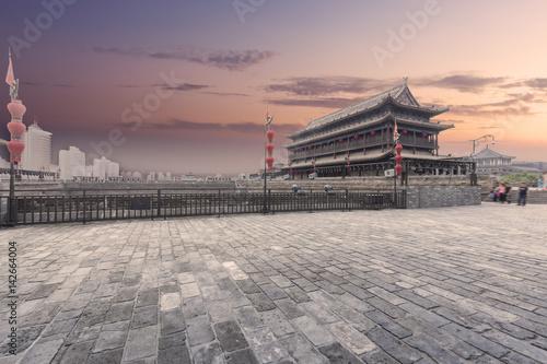 China xi 'an ancient city wall at night