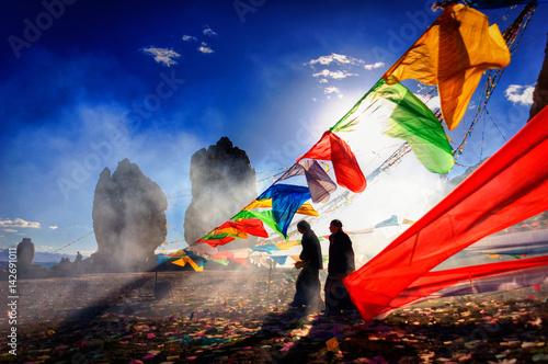 Canvas Print China, Tibet,16.09.2007 Feast of the Bon religion on Lake Namtso