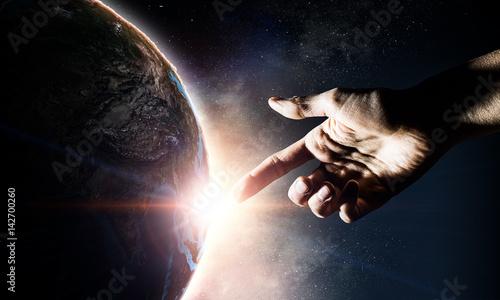Valokuva Idea of Earth creation . Mixed media