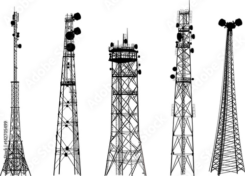 Fotografia group with five antenna tower silhouettes on white