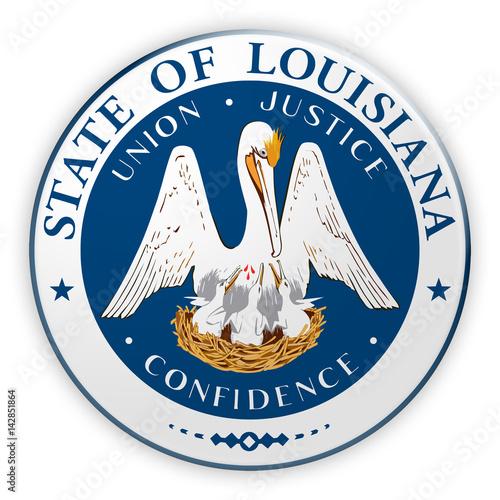 Stampa su Tela Badge US State Seal Louisiana, 3d illustration