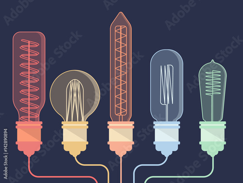 Carta da parati Colorful vintage light bulb and wires
