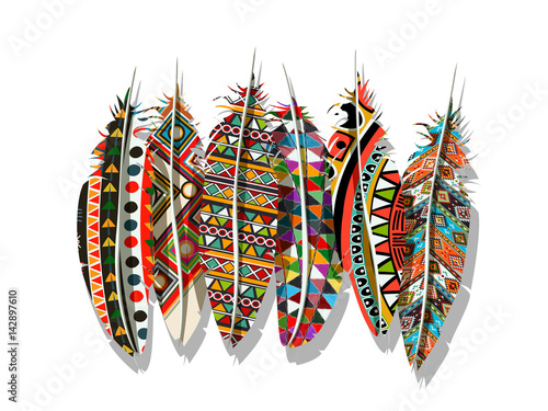 Wallpaper Mural American Indian feathers