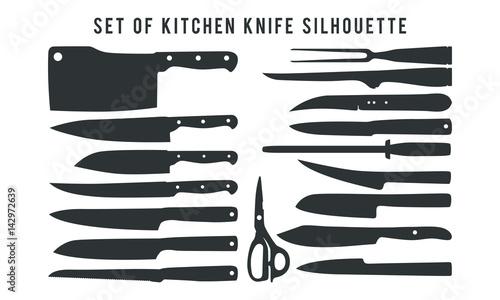 Fotografie, Obraz set of kitchen knife silhouette