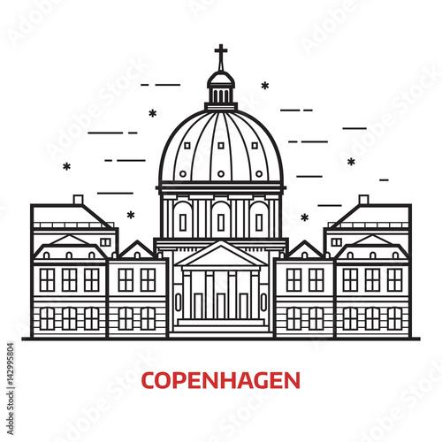Stampa su Tela Travel Copenhagen landmark icon
