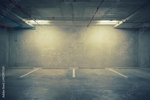 Canvas-taulu Parking garage department store interior with blank billboard