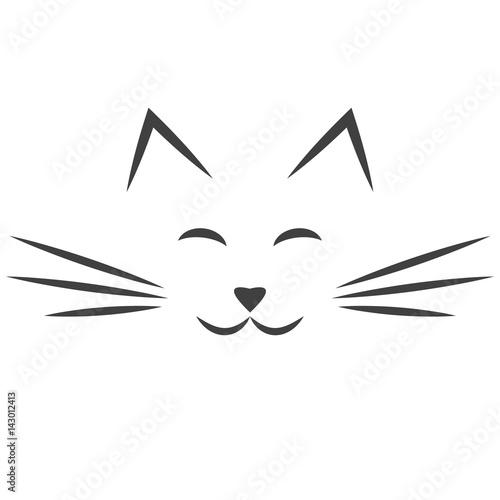 Photo black cat face icon isolated on white