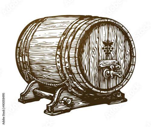 Fotografie, Tablou Hand drawn wooden wine cask