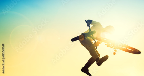 High BMX jump in a skate park.BMX Stunts