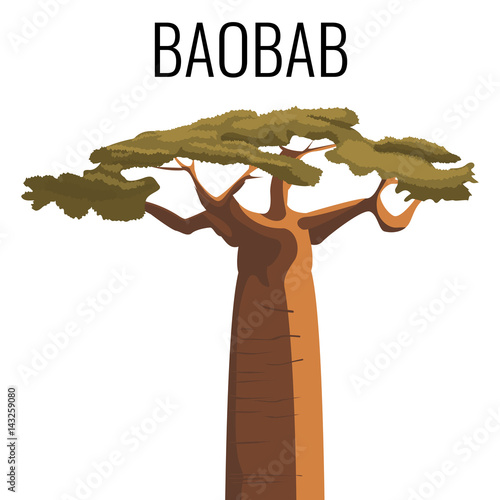Stampa su Tela African baobab tree icon emblem with text isolated on white