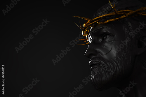 Stampa su Tela Jesus Christ Statue with Gold Crown of Thorns 3D Rendering Side Angle Empty Spac