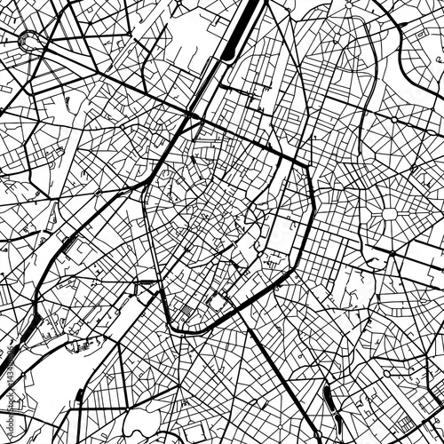 Fotografie, Obraz Brussels Belgium Vector Map