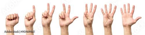 Photo Male hands counting from zero to five isolated