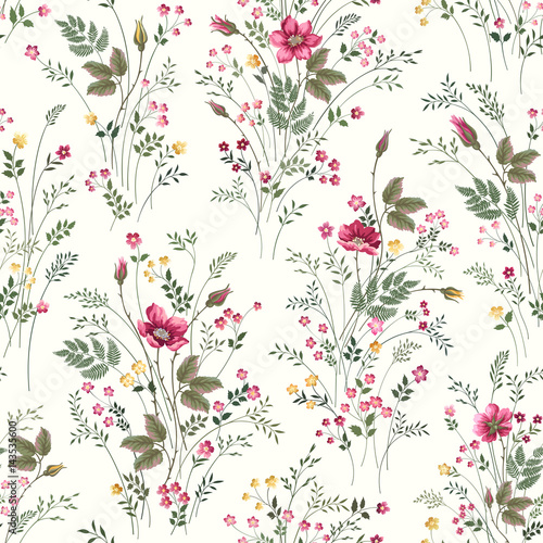Canvas Print seamless floral pattern with roses and meadow flowers
