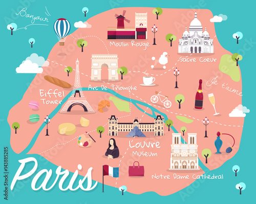 Canvas Print Map Of Paris Attractions Vector And Illustration.