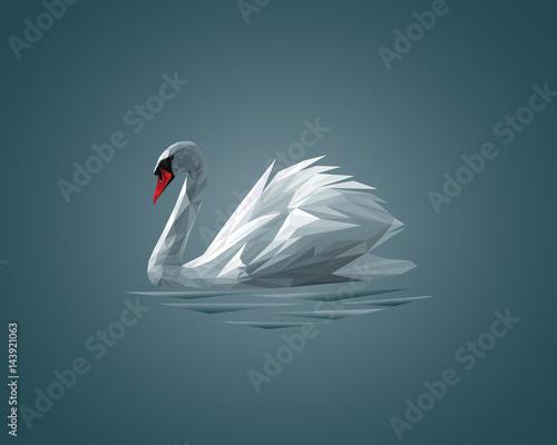 Fototapeta Low Poly Swan