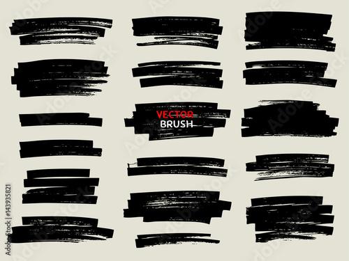 Photo black marker brush stroke set