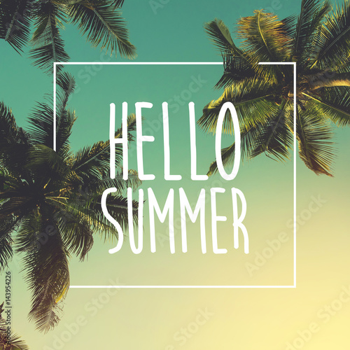 Hello Summer background with palm, image, design, travel, poster, event