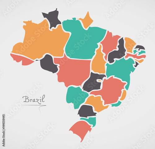 Canvas Print Brazil Map with modern round shapes