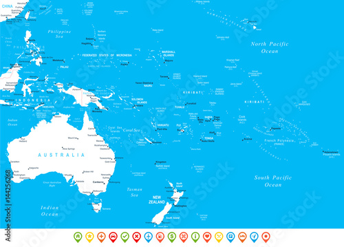 Canvas Print Australia and Oceania - map, navigation icons - illustration