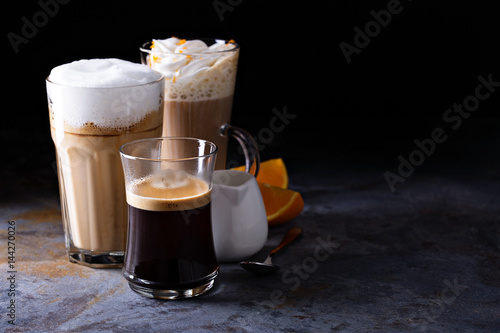 Fényképezés Coffee latte, black espresso and viennese coffee