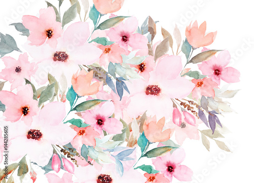 Watercolor template. Floral card