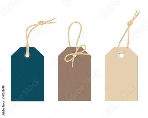 A set of vector carton tags with various linen string tying. Color label cards tied with knots and bow of realistic linen material cord illustration.