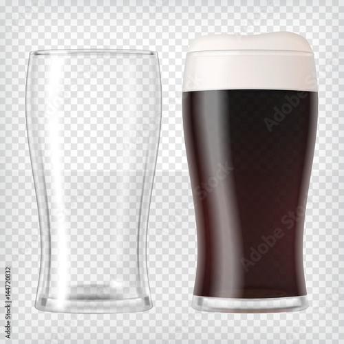 Canvas Print Realistic beer glasses - dark beer and empty mug