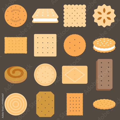 Carta da parati Collection of biscuit in flat design
