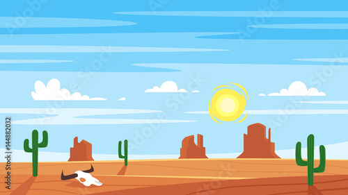 Cartoon style background with hot west desert