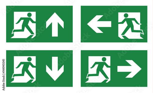 Fotografia fire exit icon set