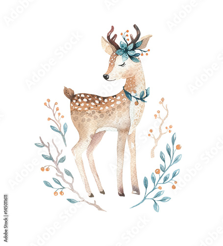 Cute baby deer animal for kindergarten, nursery isolated  illustration for children clothing, pattern. WatercolorHand drawn boho image Perfect for phone cases design, nursery posters.
