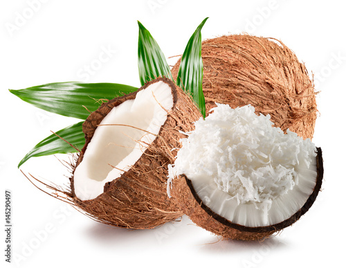Canvas coconuts with coconut flakes isolated on a white background