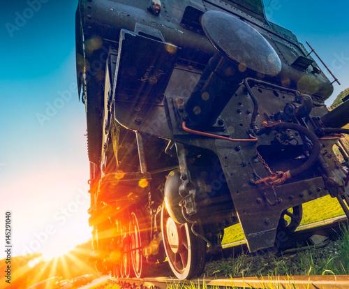 Obraz na płótnie Steam train and sunset